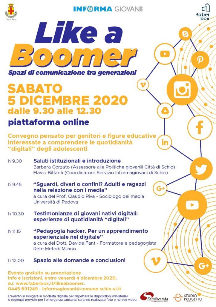 """like a boomer. Un CONVEGNO PER CAPIRE LE quotidianità """"digitali"""" degli adolescenti."""